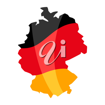 Map in the colors of the German flag. National decorative object.