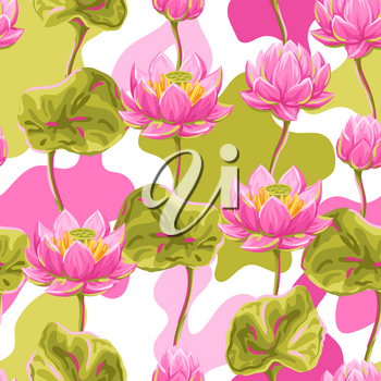 Seamless pattern with lotus flowers. Water lily decorative illustration. Natural tropical plants.