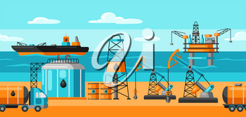 Seamless pattern with oil and petrol icons. Industrial and business illustration.