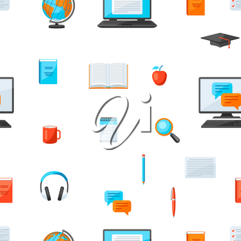 Seamless pattern with online studying at home items. Distance education. Modern technologies using computer and internet.