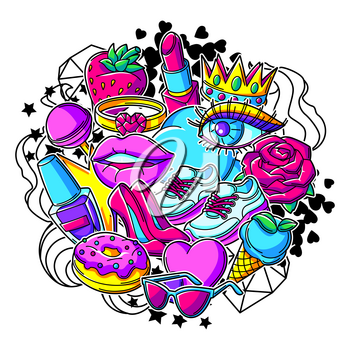 Print with fashion girlish patches. Colorful cute teenage illustration. Creative girls symbols in modern style.