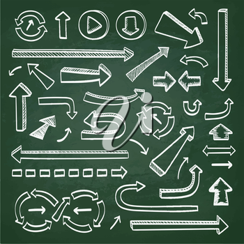 Arrows doodle set. Hand drawn sketch icons on chalkboard.Vector illustration.