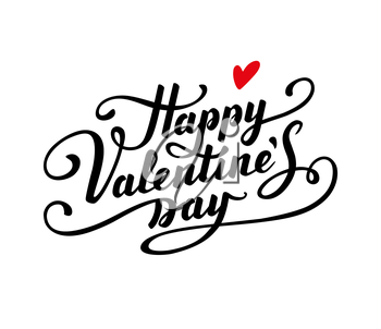 Happy Valentine s Day text. Calligraphic Lettering. Greeting card template.
