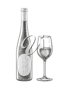 Wine bottles and glass skatch isolated on white background. Hand drawn vector illustration. Retro style.