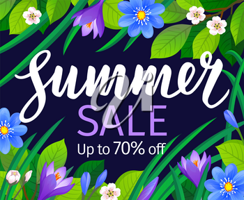 Summer sale banner template. Calligraphic Lettering on floral background. Vector illustration.