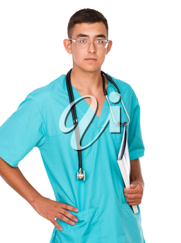 Portrait of medical male doctor, isolated over white