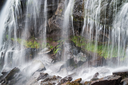 Waterfall as a background. Beautiful natural composition