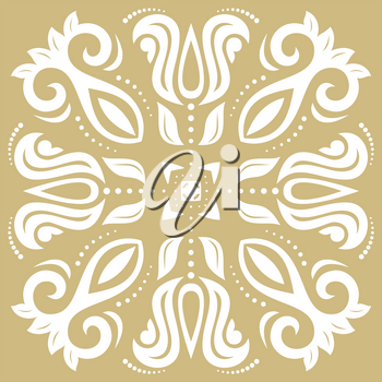 Elegant vector white ornament in classic style. Abstract traditional pattern with oriental elements. Classic vintage pattern