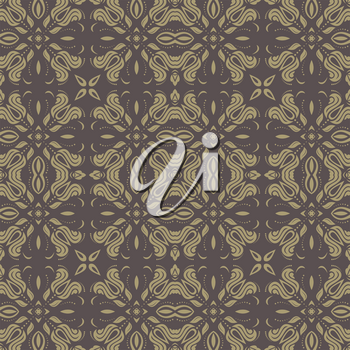 Damask seamless golden pattern. Fine vector traditional ornament with oriental elements