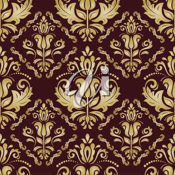 Golden pattern in the style of Baroque. Seamless vector background. Damask floral texture with orient and floral elements