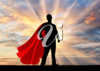 Superman businessman superhero. Silhouette of confident and strong businessman superman at sunset