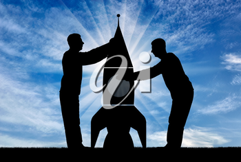 Silhouettes of two men collect a rocket. The concept of start-up