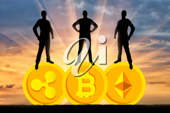 Three businessmen are standing on three coins of the crypto currency. The concept of business in the crypto currency
