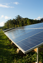 Large industrial solar power panels installation in hot tropical environment