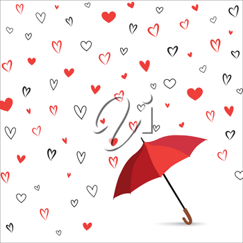 Heart texture. Romantic date card with  hearts set. Rain of heart with umbrella. Love pattern for greeting card background.