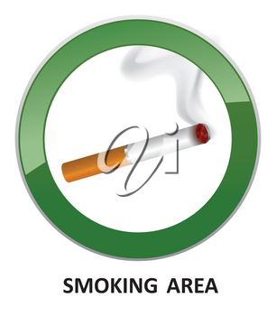 Smoking area label. Smoking Area Icon. Vector Info Sign.