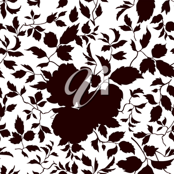 Floral seamless pattern. Flowers and leaves silhouette ornamental background. Flourish nature garden texture