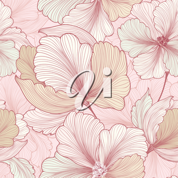 Floral seamless pattern. Flower background. Flourish sketch texture with flowers daisy.