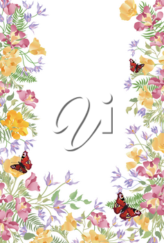 Floral background. Decorative summer flower frame. Tropical bouquet with leaves and butterfly