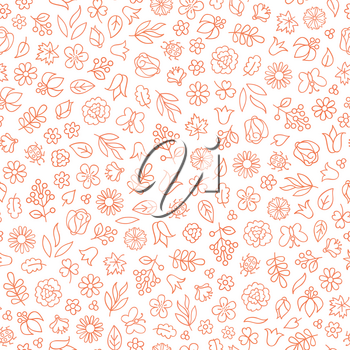Flower icon seamless pattern. Floral leaves, flowers white texture. Summer Nature background