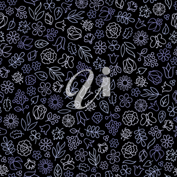 Flower icon seamless pattern. Floral leaves, flowers. Black ornamental background