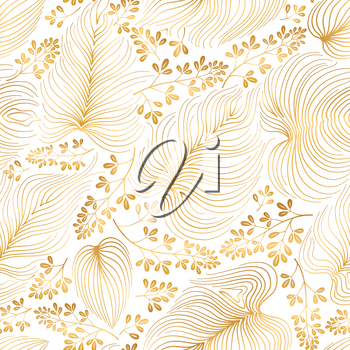 Floral pattern with leaves and flowers in elegant retro chinese style. Abstract seamless festive floral line background. Flourish ornamental golden garden with flourish nature oriental motive