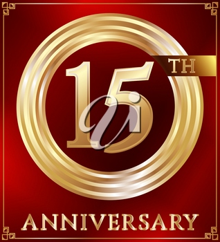Anniversary gold ring logo number 15. Anniversary card. Red background. Vector illustration.