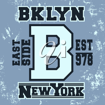 T-shirt print design. Brooklyn New York vintage stamp. Printing and badge applique label t-shirts, jeans, casual wear. Vector illustration.