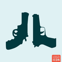 Guns icon isolated. Pistol and revolver symbol. Vector illustration