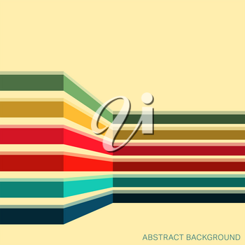 Vintage background with colored stripes. Abstract geometric pattern. Vector illustration.