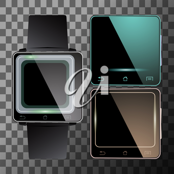 Set of smart watch with blank screen. Electronic digital watches. Vector illustration.