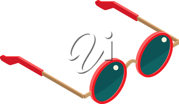 Flat isometric red sunglasses isolated. Vector isometry sunglasses round shape white background. Isometry high quality summer sunglasses icon