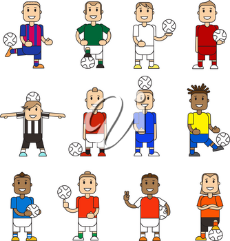 Set character soccer players football team standing white background. Vector flat illustration football player posing with the ball in different team uniforms. Ball in hands, hits ball with foot.