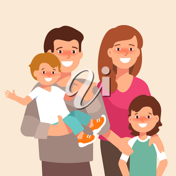 Vector flat illustration of happy family. Young mother hug son and father holding a baby stand together isolated on white background