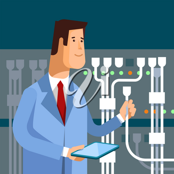 Vector flat illustration of network engineer administrator working with hardware equipment of data center. Admin and server rack networking service