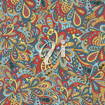 Doodle floral seamless pattern yellow and blue tones