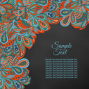 doodle floral ethnic card red and marine for black background