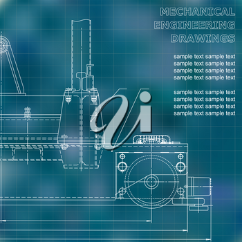 Mechanical engineering drawings on a black background. Vector. For inscriptions. Blue. Grid
