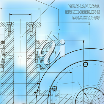 Backgrounds of engineering subjects. Technical illustration. Mechanical engineering. Technical design. Instrument making. Cover, banner, flyer, background. Blue