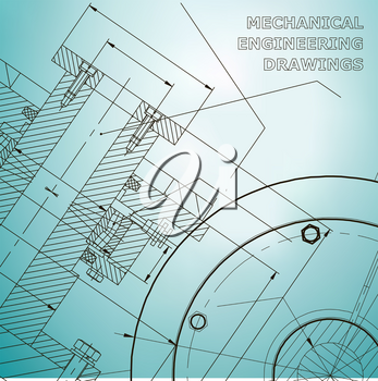 Backgrounds of engineering subjects. Technical illustration. Mechanical engineering. Technical design. Instrument making. Cover, banner. Light blue