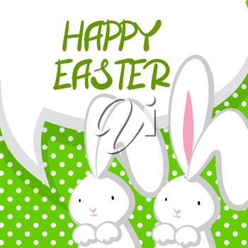 Green halftone background. White cute rabbit with big ears pink nose, congratulates Happy Easter. Vector festive hand drawn illustration. Comic bubble, empty balloon.