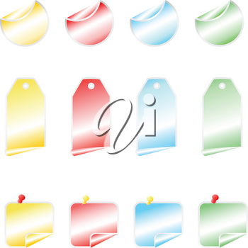 colored shining vector stickers with  bend corners