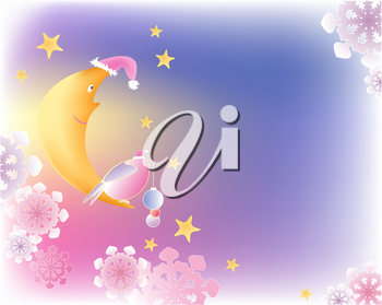 Christmas background with moon,bird and snowflakes