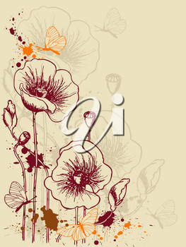 vector grunge floral background with red poppies
