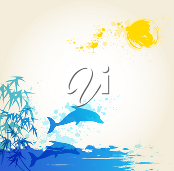 Vector summer background with blue sea and dolphins
