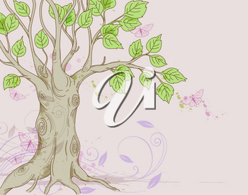 Vector background with tree and floral ornament