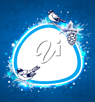 Blue Christmas vector  background with birds and snowflake