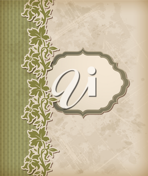 Vintage green vector background and floral ornament