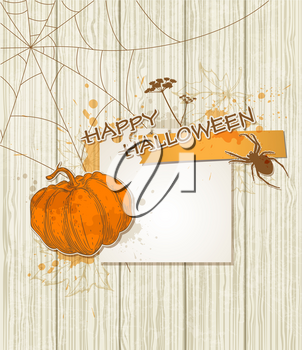 Vector Halloween background with paper and pumpkin