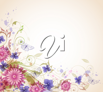 Abstract vector floral background with pink flowers and butterflies.
